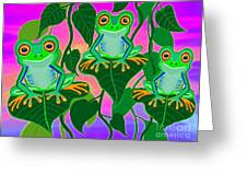 3 Little Frogs On Leafs Greeting Card