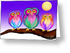 3 Little Owls In The Moonlight Greeting Card