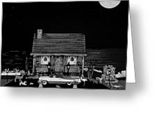 Log Cabin Scene With The Classic Old Vintage 1959 Dodge Royal Convertible In Black And White Greeting Card by Leslie Crotty