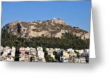 Lycabettus Hill During Sunset Greeting Card
