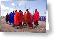 Maasai Men In Their Ritual Dance In Their Village In Tanzania Greeting Card