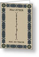 Macateer Written In Ogham Greeting Card