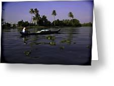 Man Boating On A Salt Water Lagoon Greeting Card