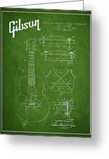Mccarty Gibson Stringed Instrument Patent Drawing From 1969 - Green Greeting Card