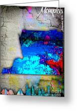 Memphis Map And Skyline Watercolor Greeting Card