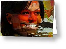 Michelle Obama Greeting Card by Marvin Blaine