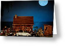 Miniature Log Cabin Scene With The Classic 1936 Mercedes Benz Special Roadster In Color Greeting Card