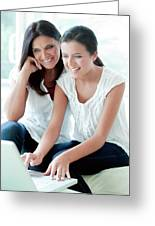Mother And Teenage Daughter Greeting Card