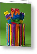 Multicolored Paint Can With Brushes Greeting Card