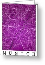 Munich Street Map - Munich Germany Road Map Art On Colored Backg Greeting Card