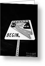 Nevada Scenic Byways Begin Signpost On The White Domes Road Valley Of Fire State Park Nevada Usa Greeting Card