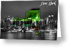 New York Map And Skyline Watercolor Greeting Card