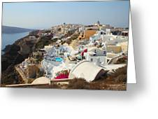 Oia Village Santorini Greece Greeting Card