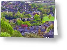Old Stirling Bridge And Houses As Visible From Stirling Castle Greeting Card