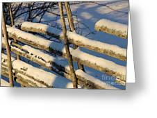 Old Swedish Wooden Fence In Winter Greeting Card
