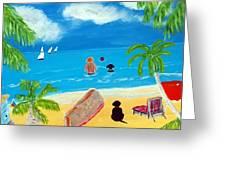 Palmy Beach Greeting Card