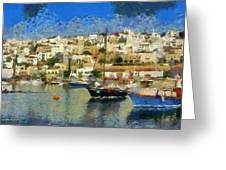 Panoramic Painting Of Mikrolimano Port Greeting Card