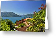 Panoramic View Over An Alpine Lake Greeting Card