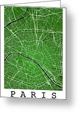 Paris Street Map - Paris France Road Map Art On Colored Backgrou Greeting Card