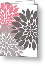 Pink Gray Peony Flowers Greeting Card