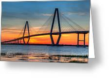 Ravenel Bridge Twilight Twinkle Greeting Card