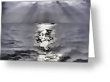 Rays Of Light Shimering Over The Waters Greeting Card