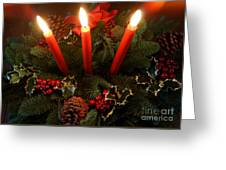 3 Red Candles Greeting Card