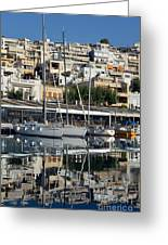 Reflections In Mikrolimano Port Greeting Card