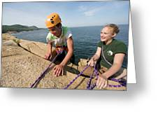 Rock Climbing On Oceanside Cliffs Greeting Card