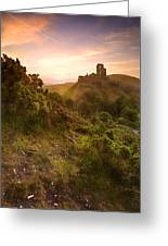 Romantic Fantasy Magical Castle Ruins Against Stunning Vibrant S Greeting Card