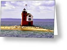 Round Island Lighthouse Straits Of Mackinac Michigan Greeting Card