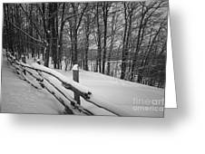 Rural Winter Scene With Fence Greeting Card