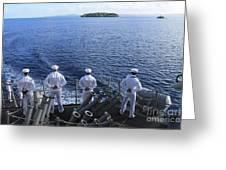 Sailors Man The Rails Aboard Greeting Card