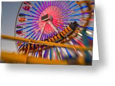 Santa Monica Pier Ferris Wheel And Roller Coaster At Dusk Greeting Card