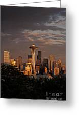 Seattle Skyline With Space Needle And Stormy Weather Greeting Card