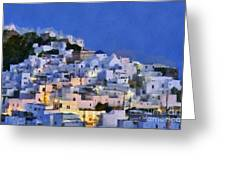 Serifos Town During Dusk Time Greeting Card