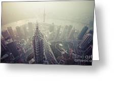Shanghai Pudong Skyline Greeting Card by Fototrav Print