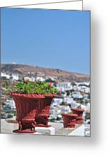 Flowerpots In Sifnos Island Greeting Card