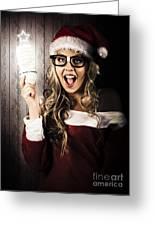 Smart Female Santa Claus With Christmas Idea Greeting Card