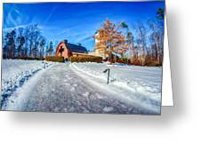 Snow Around Billy Graham Library After Winter Storm Greeting Card