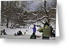 Snowboarding  In Central Park  2011 Greeting Card