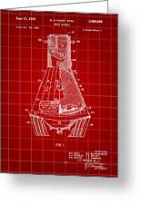 Space Capsule Patent 1959 - Red Greeting Card
