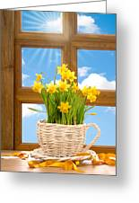 Spring Window Greeting Card by Amanda Elwell
