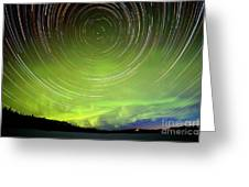 Star Trails And Northern Lights In Night Sky Greeting Card
