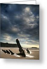 Stunning Shipwreck On Rhosilli Bay Beach Landscape At Sunset Greeting Card