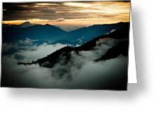 Sunset Himalayas Mountain Nepal Panaramic View Greeting Card