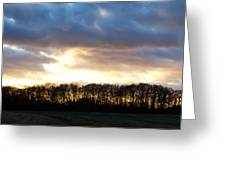 Sunset Over Trees In An English Field Greeting Card