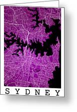 Sydney Street Map - Sydney Australia Road Map Art On Colored Bac Greeting Card