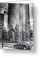 Taxi At Canary Wharf Greeting Card