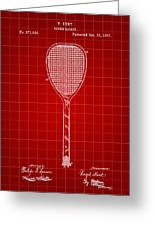 Tennis Racket Patent 1887 - Red Greeting Card